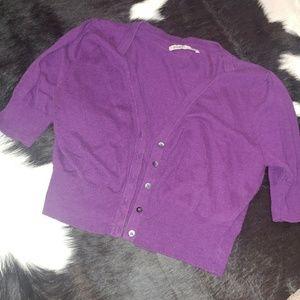 Purple crop button up sweater